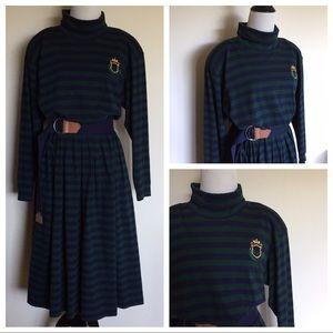 Vintage 90s Stripe Turtleneck Long Sleeve Dress L
